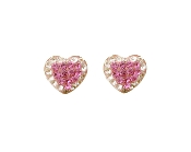 Silver Plated Heart Shape Crystal Earrings