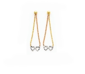 14K Gold Tri Color Earrings